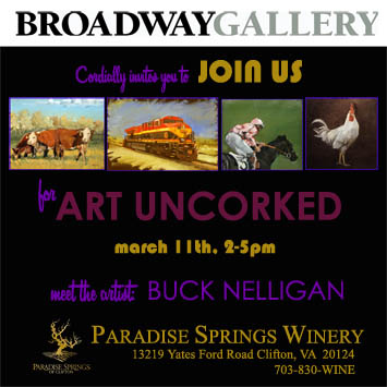 Join us for Art Uncorked!  March 11th at Paradise Spring Winery
