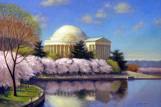 This painting of the Jefferson Memorial and bloomig cherry blossoms is gorgeous.