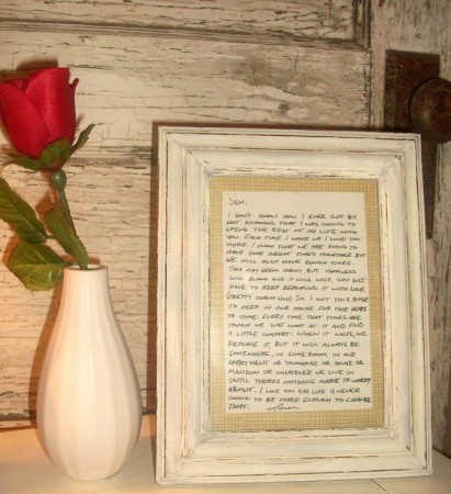A framed romantic note