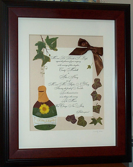 Framed wedding invitation compliments of Pressedflora.com