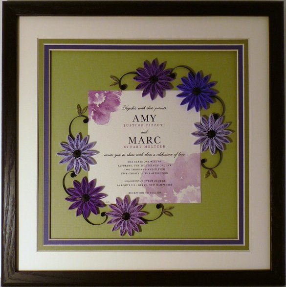 Sandra J. White creates speciatly quilled invitation frames in her home in New Hampshire.