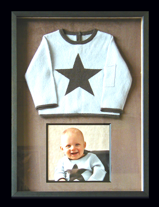 Baby photo and favorite baby sweater make a great gift!